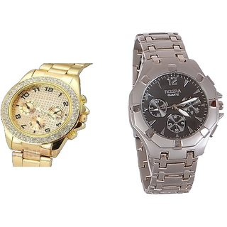 Paidu golden and Silver Rosra Combo of 2 Casual Watches For Mens by sports