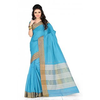 kanak new styles sky-blue color cotton saree
