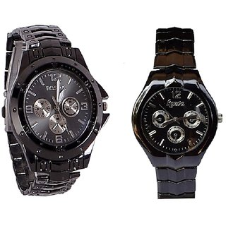 IIK Collction Black Men and  Rosra Black  Women Watches Couple For Men and Women