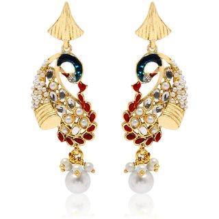 Jewels Guru Exclusive Golden White Pink Earrinhs   H  344
