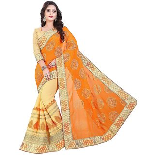Saree Shop Orange Georgette Embroidered Saree With Blouse