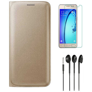 Golden Leather Flip Cover with HD Tempered Glass and Noise Cancellation Earphones for Samsung Galaxy J7 2016 J710