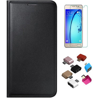 Black Leather Flip Cover with HD Tempered Glass and OTG Adaptor for Samsung Galaxy A3 2016 A310