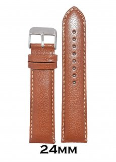 Kolet 24mm Padded Dotted Leather Watch Strap (Tan)