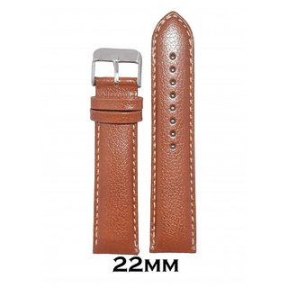 Kolet 22mm Padded Dotted Leather Watch Strap (Tan)