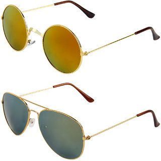 Zyaden Combo of Round And Clubmaster Sunglasses (Combo-196)