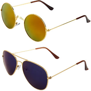 Zyaden Combo of Round And Clubmaster Sunglasses (Combo-197)