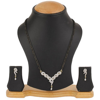 Bandish American Diamond Floral Mangalsutra Set with Chain