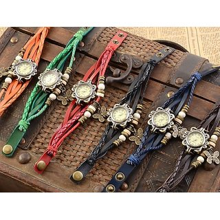 Pack of 6 different colour vintage watches