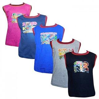 Jisha Fashion RKG-S5 Boys Sleevless Tshirt ( Pack of 5)