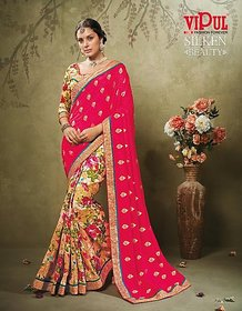 Nuteez Red Georgette Embroidered Saree With Blouse