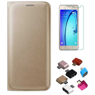 Golden Leather Flip Cover with HD Tempered Glass and OTG Adaptor for Samsung Galaxy A3 2016