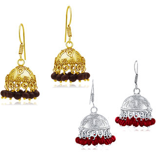 Spargz Combo of 2 Pair Bead Oxidized Long Jhumka Earrings Combo 523