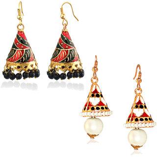 Spargz Combo of 2 Pair Multicolor Gold Bell Long Meenakari Jhumki Earring Combo 525