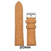 Kolet 20mm Textured Matte Finish Padded Leather Watch Strap (Tan)
