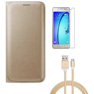 Golden Leather Flip Cover with HD Tempered Glass and Golden Nylon USB Cable for Samsung Galaxy