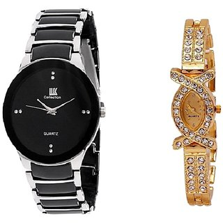 7b043a1825f Buy IIK Collection Black-Silver Men and AKS Women Watches Couple for Men  and Women Online - Get 56% Off