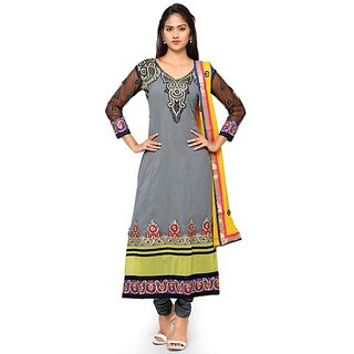 Aaina Grey Georgette Embroidered Dress Material (SB-3268) (Unstitched)