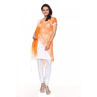 Aaina Orange  White Chiffon Embroidered Dress Material (SB-Ombre 7A) (Unstitched)