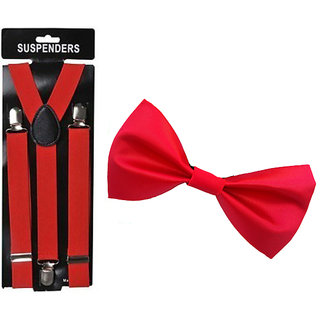 Ws deal Unisex Red Suspender And Red Bow (combo)