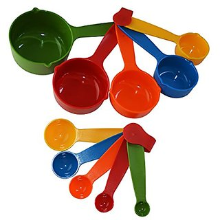 Kudos Combo Baking Measurement Measuring Cups 5 Pieces  Spoons 5 Pieces Set Of Each Big  Small ( Multicolor )