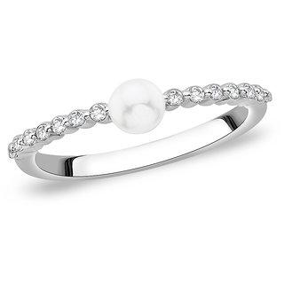Taraash Sterling Silver Elegant CZ & Pearl Finger Ring For Women CBFRBX61-09