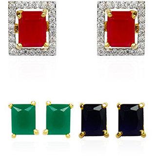 Bandish Multicolour interchangeable Square 3 in 1 American Diamond Stud Earrings