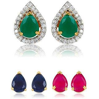 Bandish Multicolour interchangeable Tear-Drop shaped 3 in 1 American Diamond Earrings