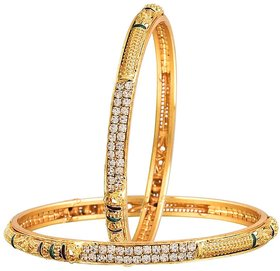 Bandish Gold toned American Diamond Meenakari Bangles Set