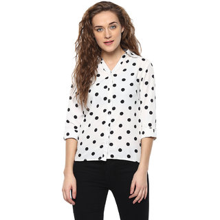 Smart and Glam Women's Polka Print Casual White Shirt
