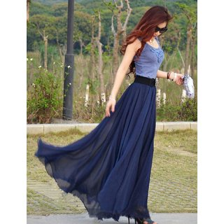 Rosella Blue Plain Flared Skirt For Women: Buy Rosella Blue Plain ...