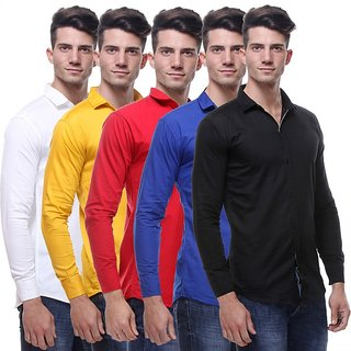 Red Code Men's  Regular Fit Casual Poly-Cotton Shirt Pack Of 5