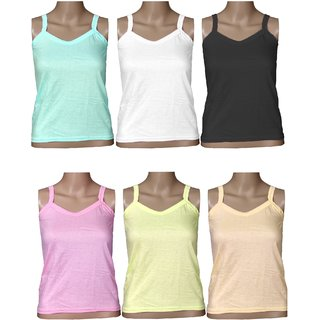 PACK OF 6 CAMISOLE  Multicolour in Cotton Fabric  Girls Innerwear Slip