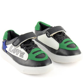 DeVEE Junior Love-stared Boy's Black Green Flat Velcro Closing Running Shoes