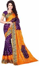 Nuteez Purple Art Silk Printed Saree With Blouse