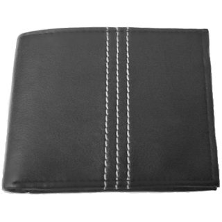 Men's Black Premium Leather Wallet (Synthetic leather/Rexine)