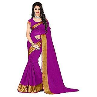 SR Purple Cotton Plain Saree With Blouse