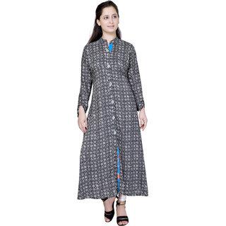 Pari Gray Embroidered Rayon Crepe Kurtis For Women