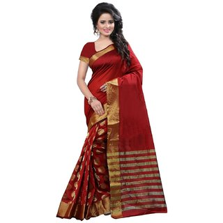 SR Red Cotton Embroidered Saree With Blouse