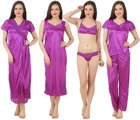 Fasense Women Satin Nightwear Sleepwear 6 PCs Set of Long Wrap Gown, Nighty, Top, Pyjama, Bra  Thong GT001