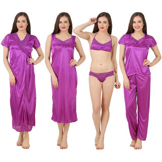 Buy Fasense Women Satin Nightwear Sleepwear 6 PCs Set of Long Wrap ... b745f95c0