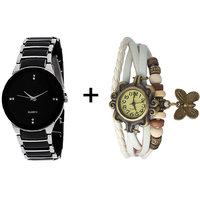 Gtc Combo Of Black  Silver Quartz Analog Watch For Man - 107819638