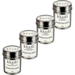Khadi Almond+Orange+Aloevera+Rose Face Pack (Pack of 4)