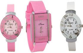 Glory Combo Of Three Watches- Pink And White Glory Pink Rectangular Dial Kawa Watch  5 STAR