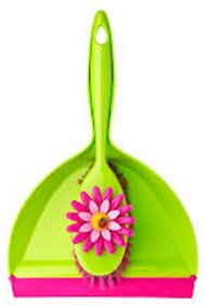 Pink Palm Dish Brush With Holder, 4-1/4- Pink, Green
