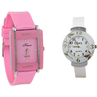Glory Combo Of Two Watches-Baby Pink Rectangular Dial Kawa And White Circular Glory Watch