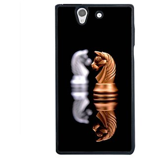 Fuson Designer Phone Back Case Cover Sony Xperia Z ( Two Horse Face Chess Pieces )