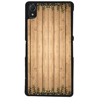 Fuson Designer Phone Back Case Cover Sony Xperia Z2 ( Wood Table With Leaves )