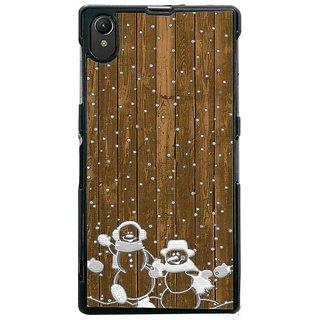 Fuson Designer Phone Back Case Cover Sony Xperia Z1 ( The Festive Snow Man )