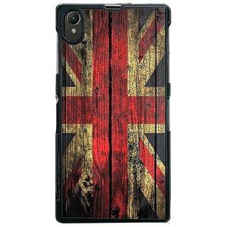 Fuson Designer Phone Back Case Cover Sony Xperia Z1 ( London Flag Wooden Imprint )